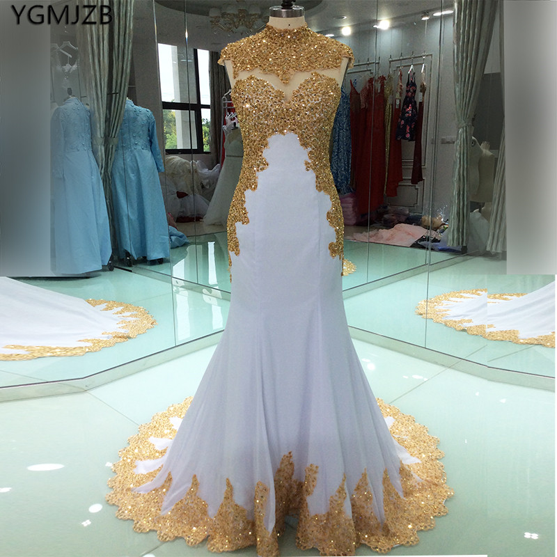 Sexy Mermaid Long Evening Dresses 2017 High Neck Beaded Gold Embroidery White Muslim Arabic Women Formal Prom Evening Gowns