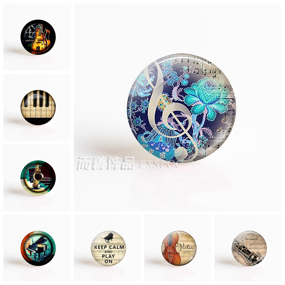 Musical Note Jewelry Musical Instruments DIY Pendant Round 25mm Glass Cabochon Handmade Jewelry цена 2017