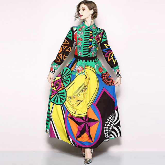 d6f51b9130 Chic Color block Lapel Long Sleeve Maxi Dress-in Dresses from ...