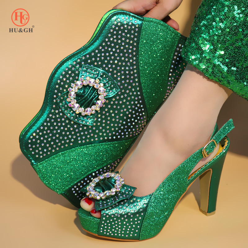 Italian Matching Shoes and Bag Set African Wedding Shoe and Bag Set Italy Deep Green Color Summer Women High Heels Sandal Shoes hot artist shoes and bag set african sets italian shoes with matching bags high quality women shoes and bag to match set mm1055