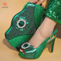 Italian Matching Shoes and Bag Set African Wedding Shoe and Bag Set Italy Deep Green Color Summer Women High Heels Sandal Shoes