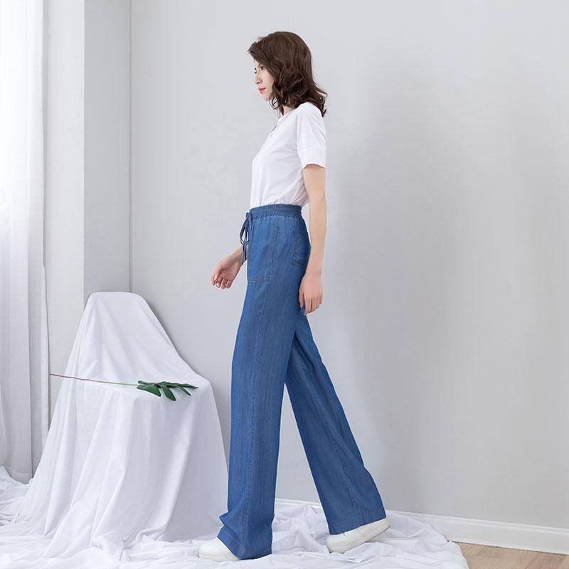 Jeans wysokiej szerokie pas
