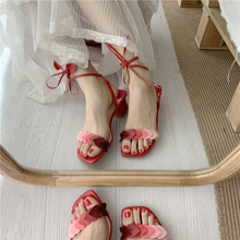 Women Designer Brand Summer Sandals Square Mid Heel Heart Shaped Cross tied Gladiator PU Leather Party