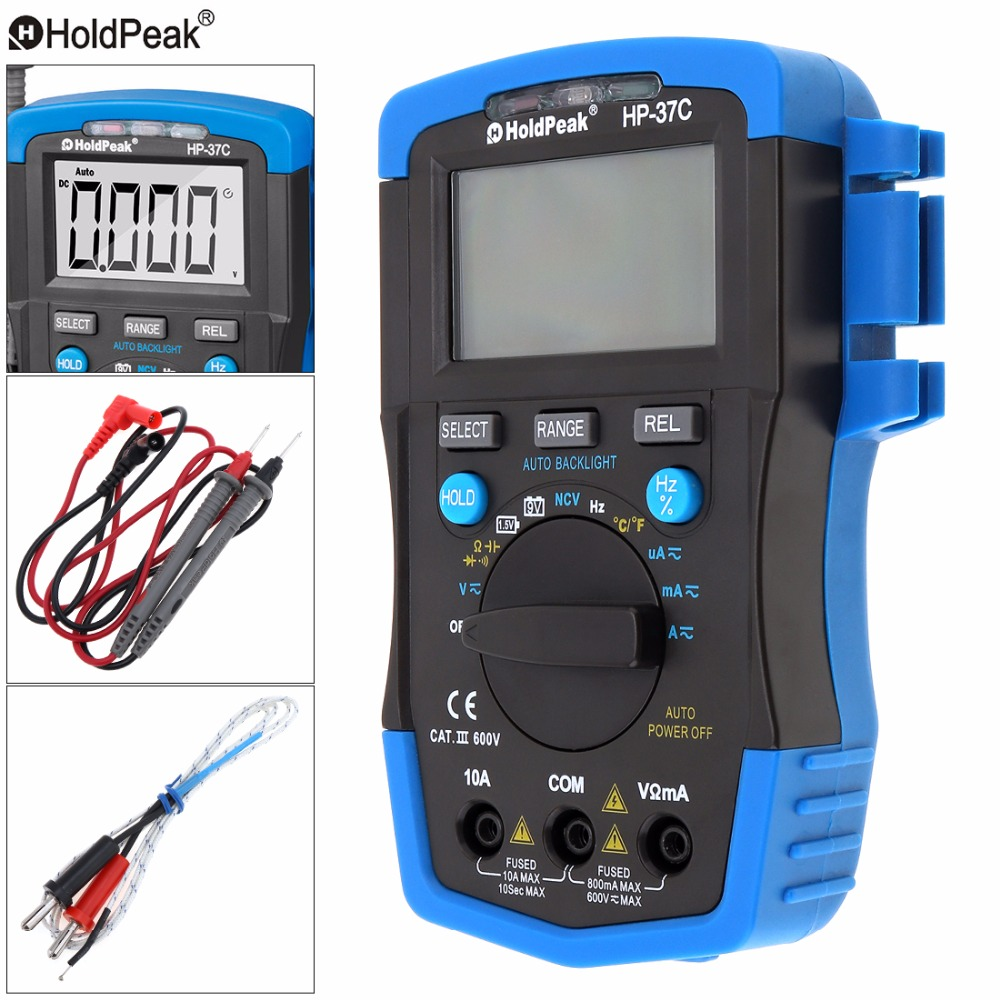 HP-37C LCD Display Portable 6000 Counts Digital Multimeter with Backlight and K Type Thermocouple Support Overload protection 2017 high quality original jinhan jds2012s handheld digital oscilloscope and 6000 counts digital multimeter 25mhz 200msa s