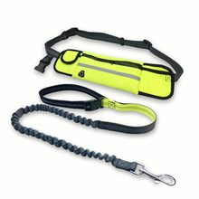 Elastic Waist Dog Leash with Waterproof Pockets Running Jogging Sport Adjustable Nylon Collar Rope