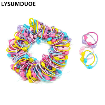 100Pcs/Lot Girls Hair Accessories Elastic Hair Bands Cute Scrunchy Bunny Ear Hoop Flower Hairbands Headdress Hair Bands for Kids 1