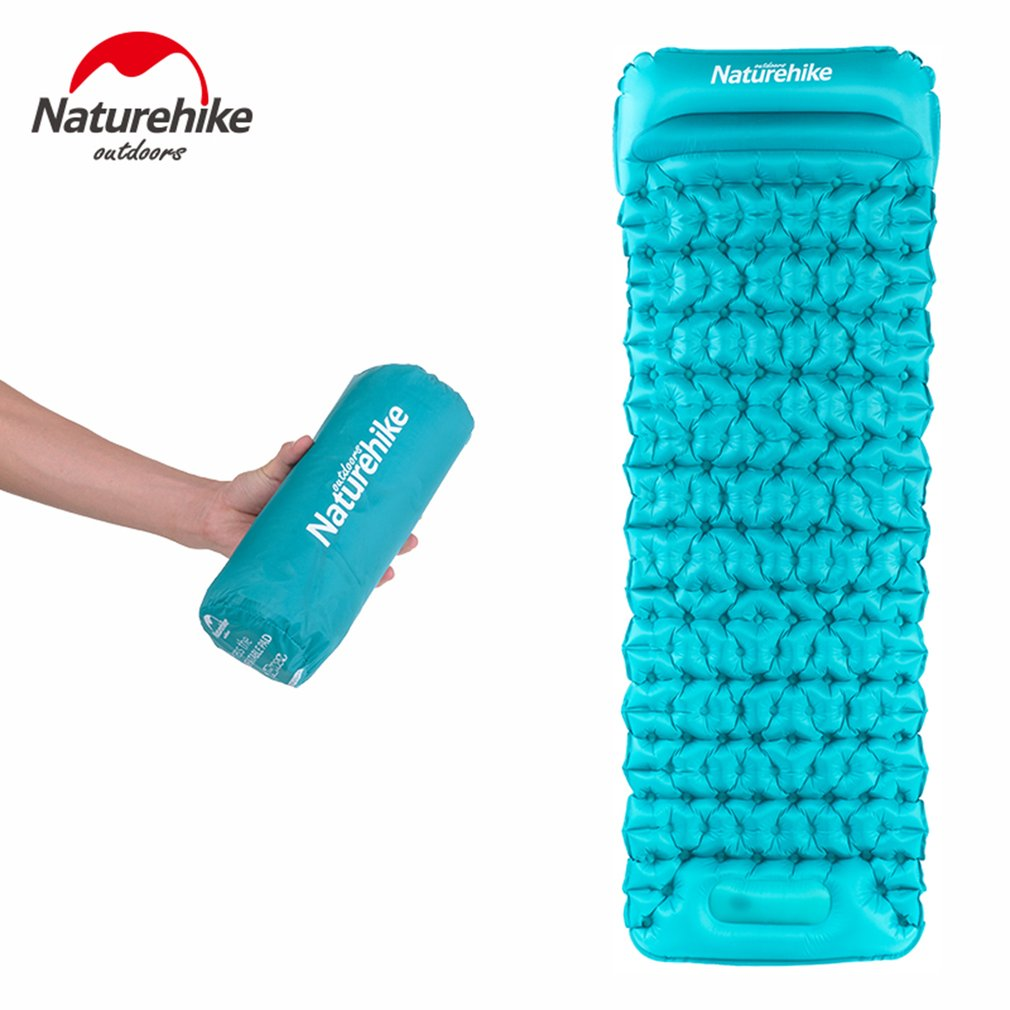 Naturehike 20D Nylon TPU Manual Inflating Camping Sleeping Mat Hand Pressure Outdoor Inflatable Moistureproof Mattress Sleep Pad