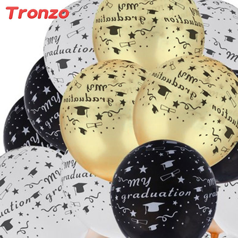 Tronzo Graduation Balloons Graduation Party Decoration 10Pcs 12inch Black White Gold Mix Color Latex Balloons Graduation 2018