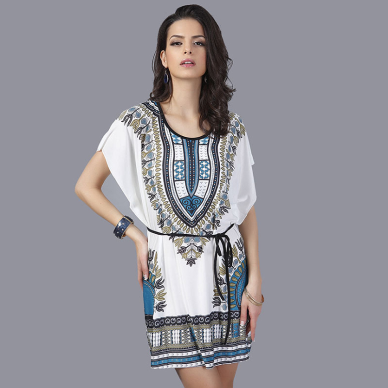 Hippie Boho Dress Summer Beach Dress T Shirt Dresses Short Sleeves Bohemian 2018 Robe Femme Floral Robe Femme Korean Clothes New