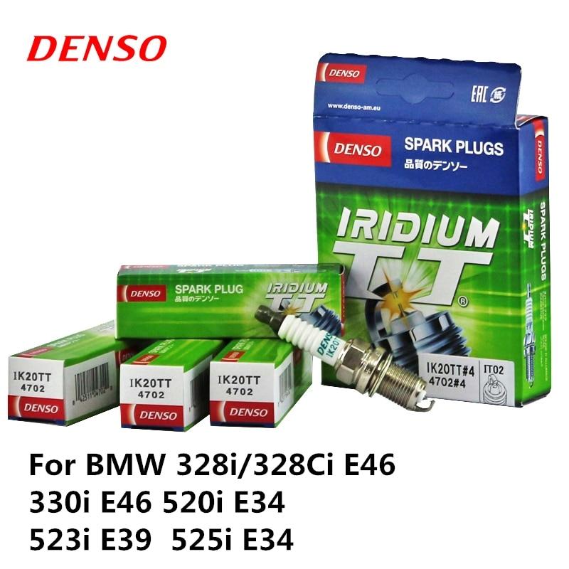4 pièces/ensemble DENSO Bougie D'allumage De Voiture Pour BMW 328i/328Ci E46 330i E46 520i E34 523i E39 525i E34 Iridium Platine IK20TT