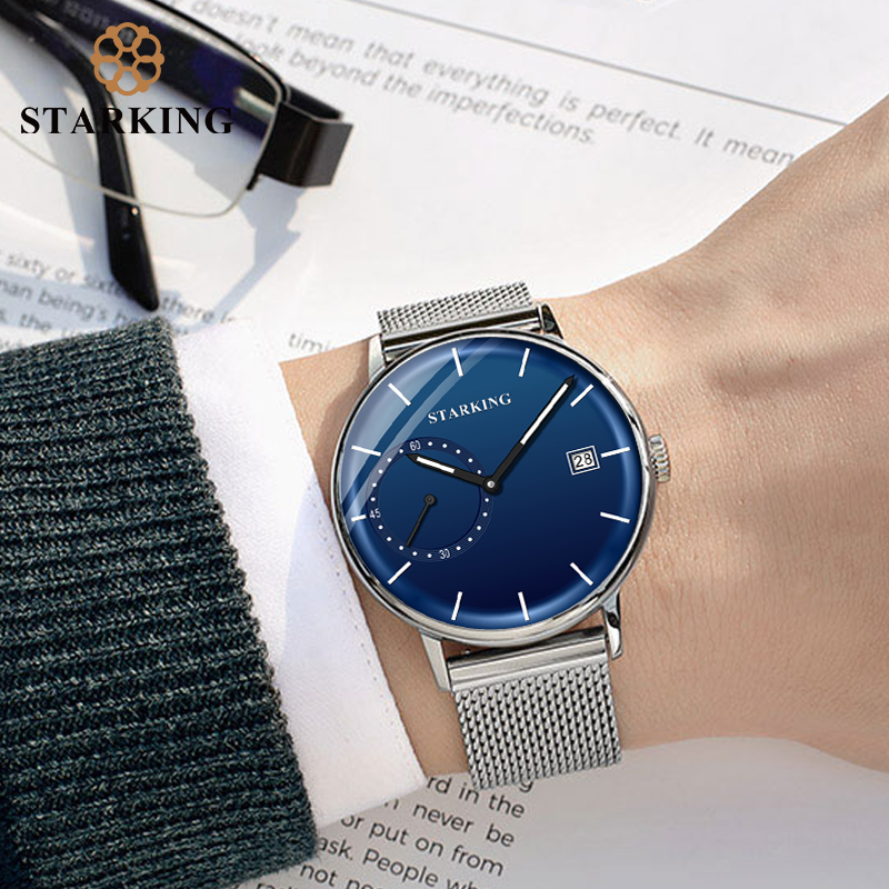 STARKING Dress Men Watch Steel Mesh Band Quartz Analog Wristwatch 3ATM Waterproof Curved Glass Blue Male Clock Relogio Masculino 6