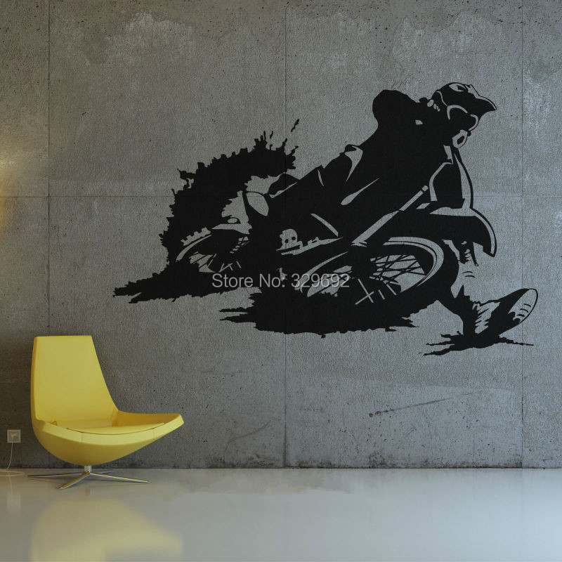 motocross bike wall art decal diy home decoration wall decoration bedroom  removable sticker 90 x 58. Popular Motocross Wall Decor Buy Cheap Motocross Wall Decor lots