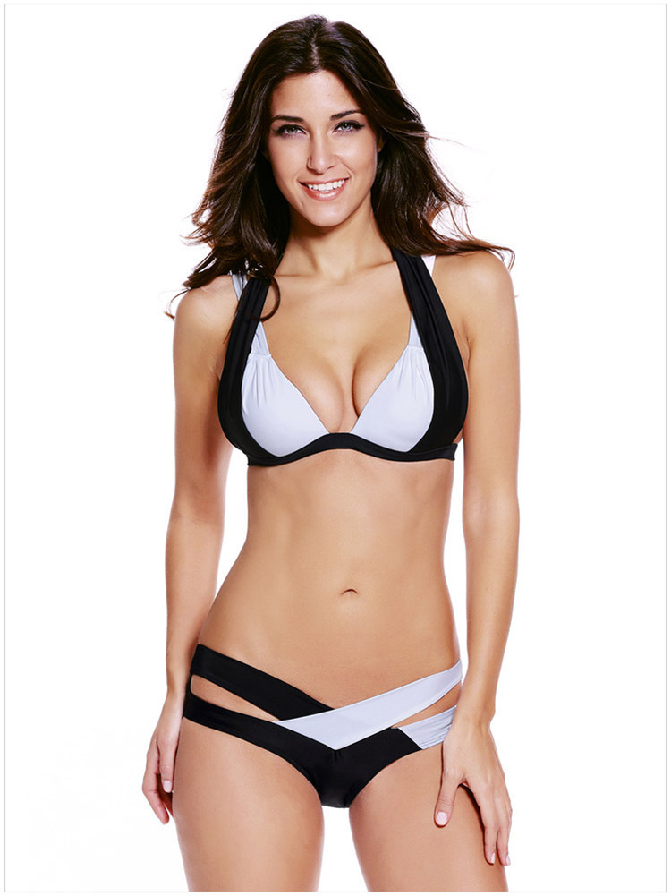 Criss Cross Bikini Set - New Sexy Halter Swimsuits Color Block Push Up Swimwear Women Bandage Bathing Suit sexy halter push up color block underwire bikini set for women
