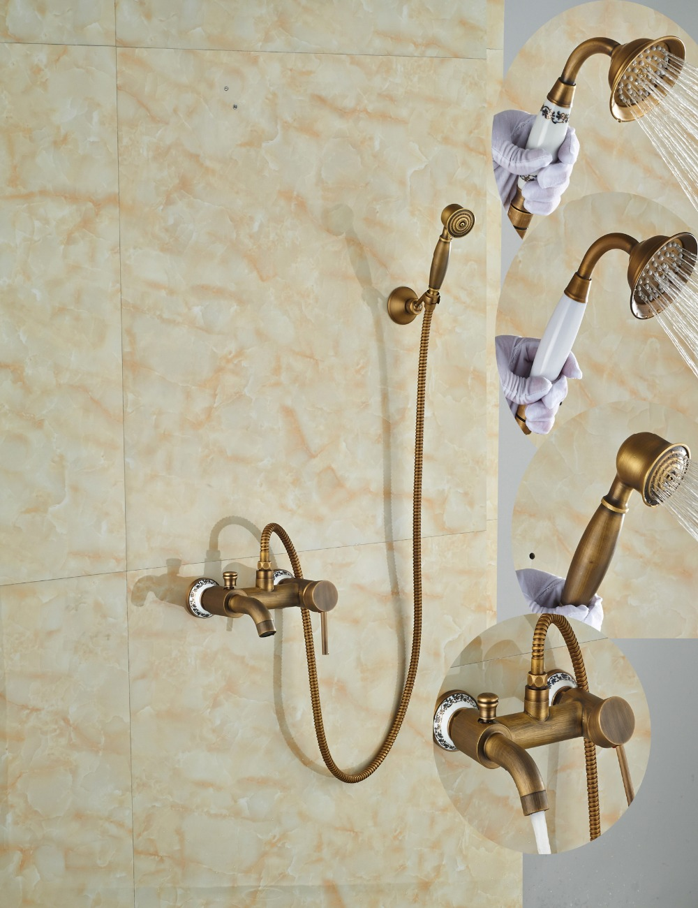 Wholesale And Retail Antique Brass Wall Mounted Bathroom Rain Shower Faucet Head Faucet Tub Spout Mixer Tap luxury wholesale and retail promotion antique brass wall mounted 8 round rain shower faucet set single handle mixer
