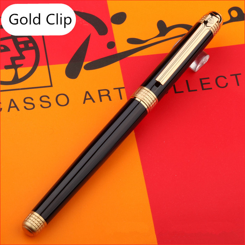 1pc/lot Picasso 909 Fountain Pen London Style Pens Black Pen Gold Clip Office Fountain Pens Writing Supplies 0.5mm 13.9*1cm picasso urban fountain pen white pens silver clip picasso pen school supplies stationery