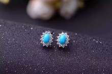 natural blue turquoise stone earrings 925 silver Natural gemstone earring women fashion Sunflower earrings for party
