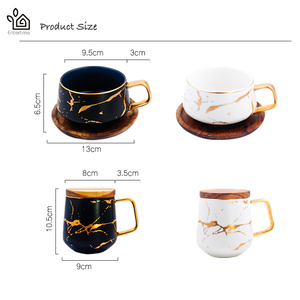 Image 5 - Entertime Nordic Style Marble matte gold series ceramic tea cup coffee mug with wooden lid or tray
