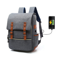 Vintage Canvas Backpack Men Women USB charging Unisex Students Backpacks Laptop Computer Bags for School Bags for Teenagers augur brand backpack men canvas backpack vintage retro women backpacks school bags for teenagers laptop backpack