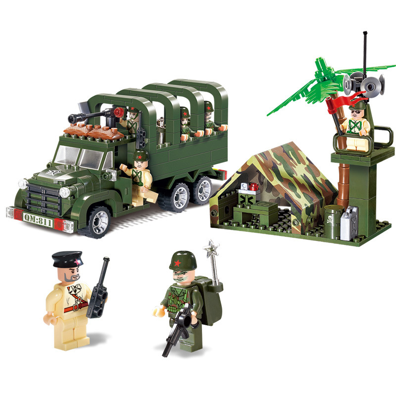 308pcs Plastic Military Toy Soldiers Set Truck Tent Sentinel Gun Assembled Building Blocks Children Toy Kids Boys  K0331-811 8 in 1 military ship building blocks toys for boys