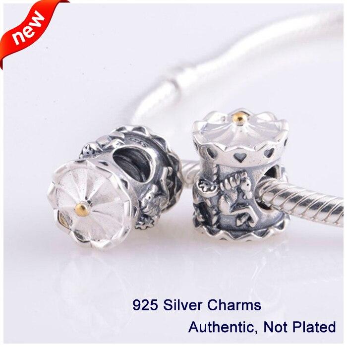Convient pour Pandora perles Bracelets carrousel charmes avec 14 K réel or 100% 925 bijoux en argent Sterling livraison gratuite