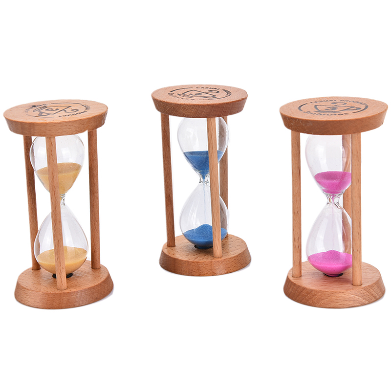 Home Decoration Red Wood Hourglass Sandglass Sand Timer Clock Ornament 3 Min