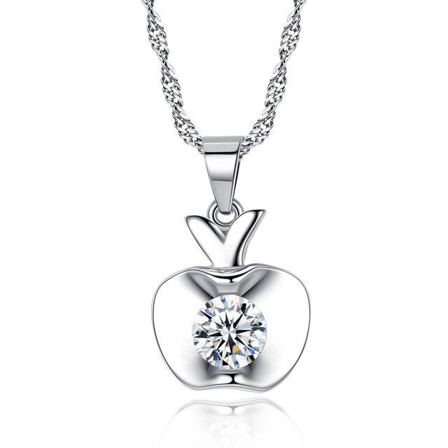 c7d05ca526ef AAA 100% de Plata de Ley 925 collares y colgantes manzanas modelos  femeninos joyas de