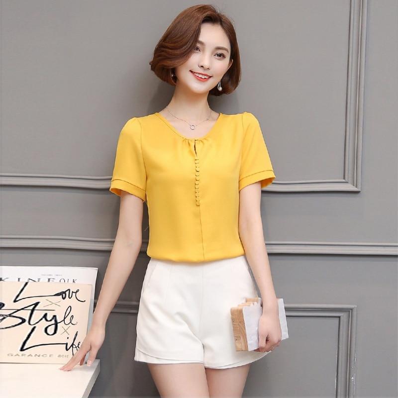 Summer Tops Chiffon Womens Tops And Blouses Short Sleeve Casual Shirts Elegant Button Blouse Women White Tops Blusa Feminina
