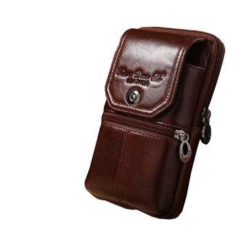 2018 nuevos hombres de cuero genuino Vintage viajes celular caso de la  cubierta del teléfono móvil cinturón de cadera Bum bolso Fanny paquete de  la cintura ... 384c22e484a2