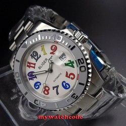 40mm Bliger białe okno daty szafirowe szkło automatyczny męski zegarek B107