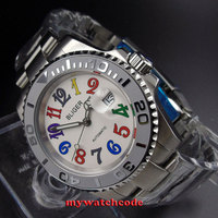 40mm Bliger white dial date window sapphire glass automatic mens watch B107