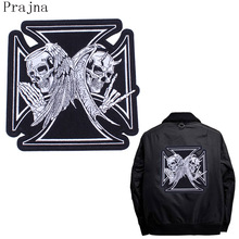 Prajna Big Pirate Gothic Morale Patch Tactical Stripe Embroidered Iron On Patches Large Skull Military Patch Rock Clothes Police