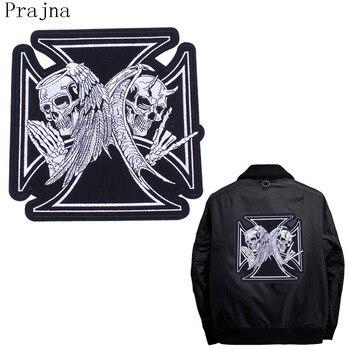 bb10dac47 Prajna gran pirata gótico morale Patch Tactical raya bordado hierro en  Parches cráneo grande Militar Patch Rock policía
