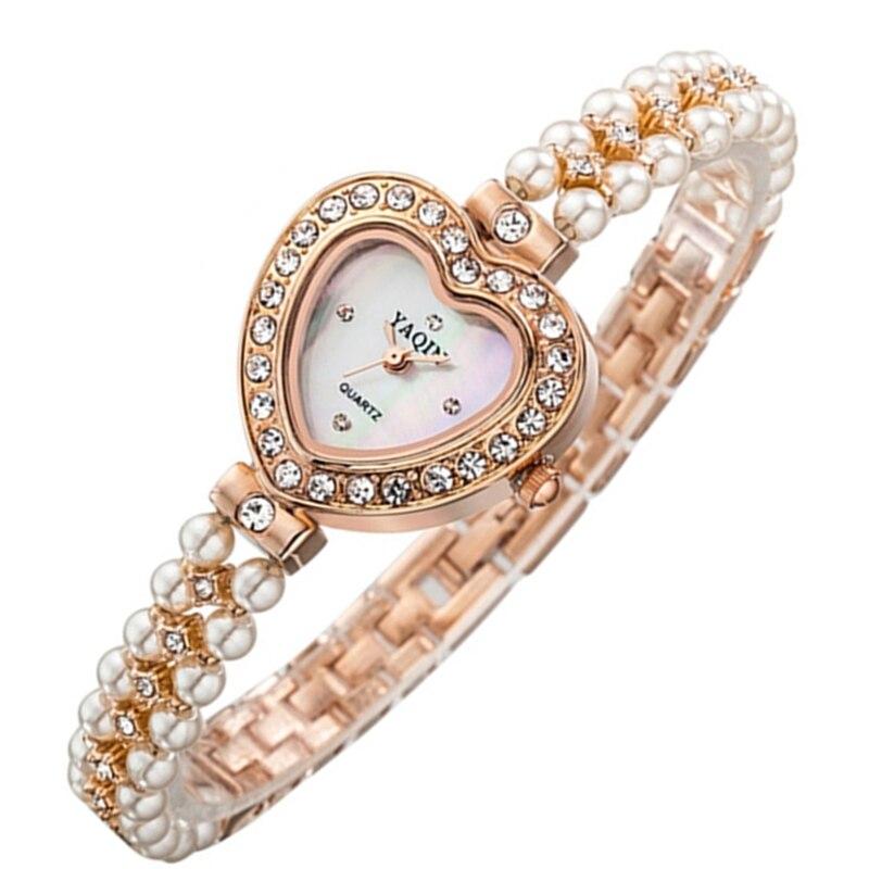 New Women Brand Watch Yaqin Fashion Rose Gold Watch Short Pearl Band Heart Shape Dial Fashion CZ Rhinestone Relogios Femininos