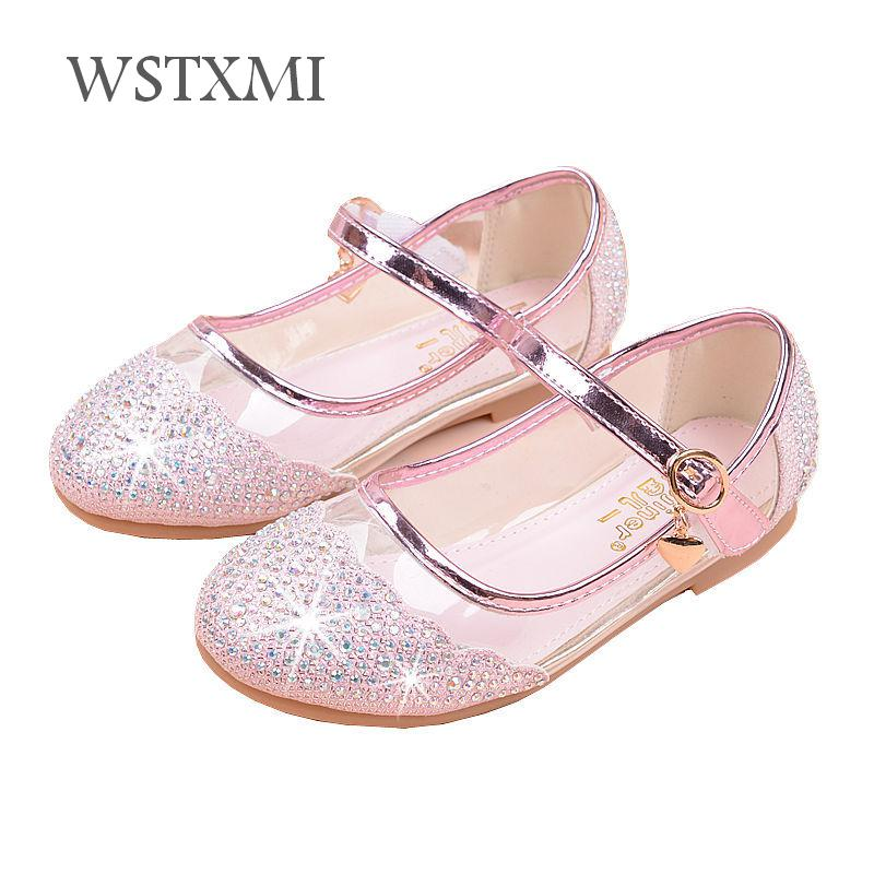 Children Princess Shoes For Girls Glitter Leather Shoes Fashion Flat Dance Dress Crystal Shoes Kids Banquet Silver Party Wedding