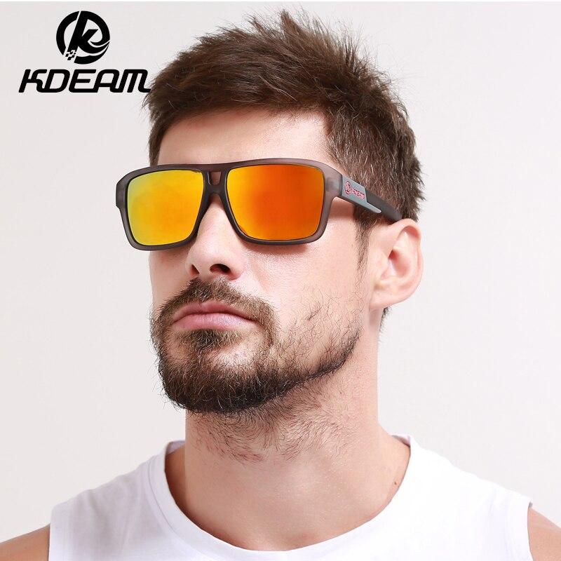 0e9d43778 KDEAM 2018 Novos Dos Homens Do Esporte Óculos De Sol HD Revestimento  Reflexivo Polarized Óculos de Sol Quadrados Mulheres de design Da Marca  cores KD520-B18 ...