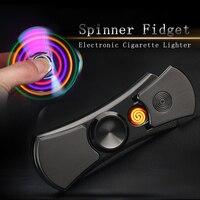 Hot Hand Spinner USB Electronic Lighter Led Light Cigarette Lighter Flameless Windproof Plasma Arc Lighter Fidget