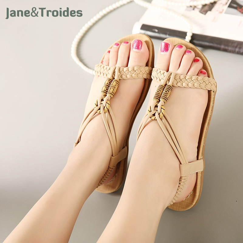 Women Sandals Summer Flip Flops Women's Beach Sandals Women Shoes Bands Flat Shoes Gladiator Sandalias Mujer Driving Shoes covoyyar 2018 fringe women sandals vintage tassel lady flip flops summer back zip flat women shoes plus size 40 wss765