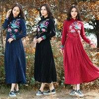 Ethnic Dress Designs 2016 Women Autumn Spring Vintage Mandarin Collar Long Sleeve Black Red Blue Embroidery