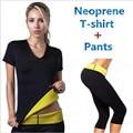 (Брюки + футболка) Супер горячая формирователи управления трусики шорты женщин растянуть неопрена рубашки пот похудения body shaper
