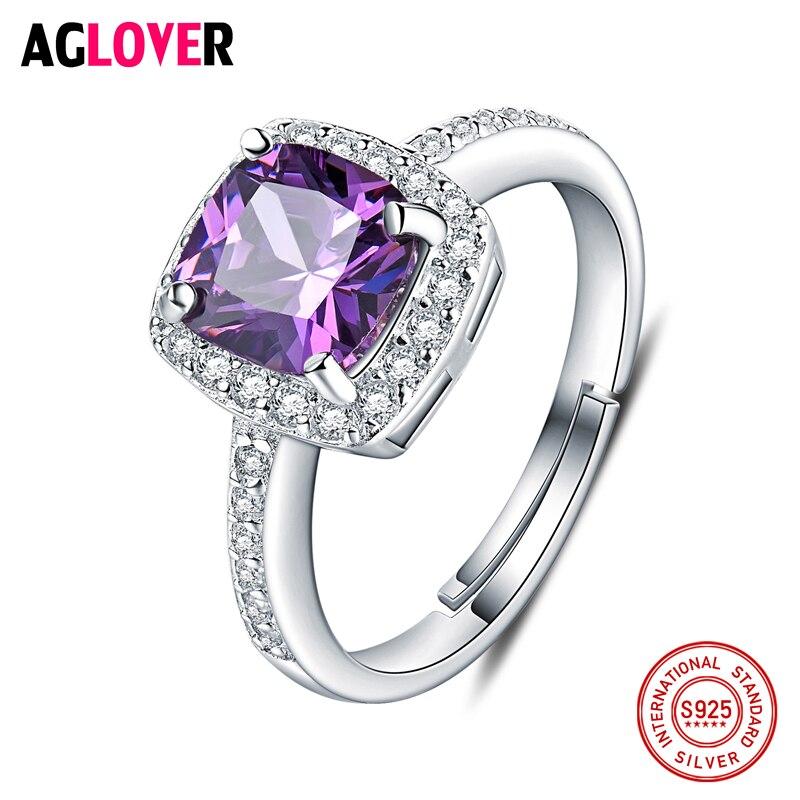Lover Jewelry 5A Amethyst 925 Sterling Silver Ring Emerald Cut Purple Nature Stone Women Wedding Gemstone Rings