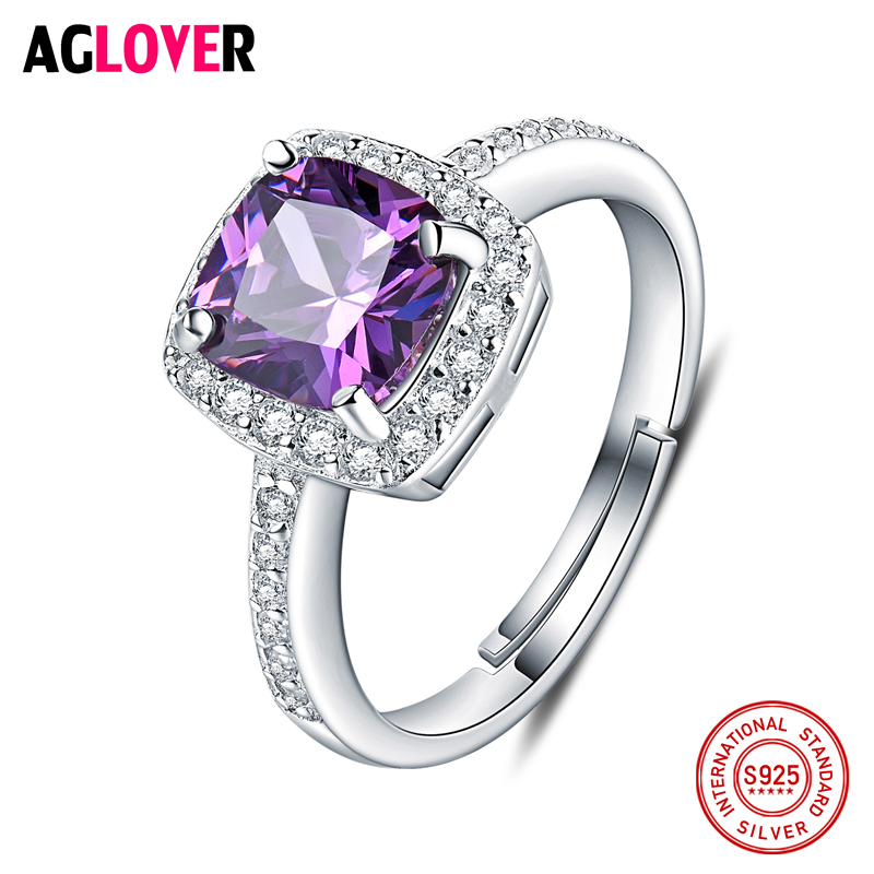 Lover Jewelry 5A Amethyst 925 Sterling Silver Ring Emerald Cut Purple Nature Stone Women Wedding Gemstone Rings
