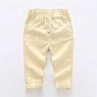 2018 קוריאה מכנסיים בנים נוחים 2-8 T לשני המינים אופנה פסים בנות חותלות אלסטיות מותן אביב Pantalon רך מזדמן ילדים ללבוש
