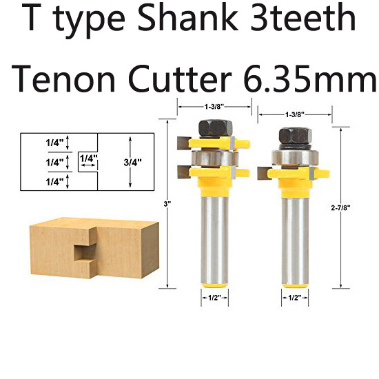 2pcs  Type Shank 3teeth Tenon Cutter  Reversible Glue Bits of High Quality Dovetail Router Bits Box Joint Router Bit 2 pcs 1 2t type shank 3teeth tenon cutter 4mm reversible glue bits of high quality dovetail router bits box joint router bit