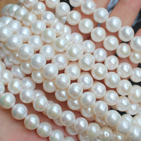 10mm White Natural FreshWater Pearl Round Loose Beads 15,Min.Order $10, provide mixed wholesale for all items !
