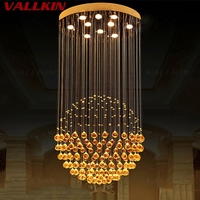 VALLKIN Modern Chandeliers Luxury Clear Crystal Hanging Lamp Lighting Fixtures For Dining Room Hotel With D60CM