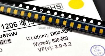 500 unids/lote 1206 LED blanco frío Smd Led brillante blanco fresco diodos emisores de luz LED1206