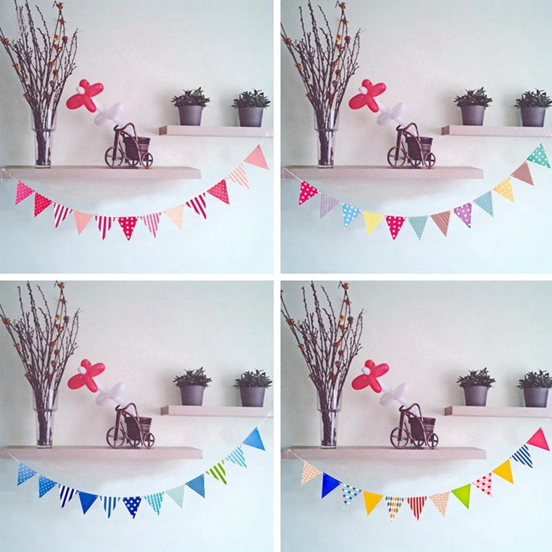 Party Decoration Baby Shower Banner Kids Favors Flags Birthday Party  Pennants Blue Pink Polka Dots Paper Garlands
