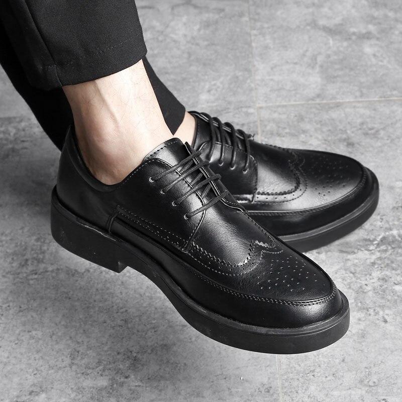 Respirável Black Black Britânica up chegados Apontou De Hairstylist Patent soft Recém Sapatos Preto Homens Moda Patente Lace Toe Masculinos Couro Os Brogue 4wq7t1Ht