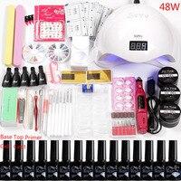 Маникюрный набор 36 W/48 W/80 W Led УФ ногтей Lamp12 Цвет Набор для акриловых ногтей гель Лаки полировка комплект ногтей сверла ручка