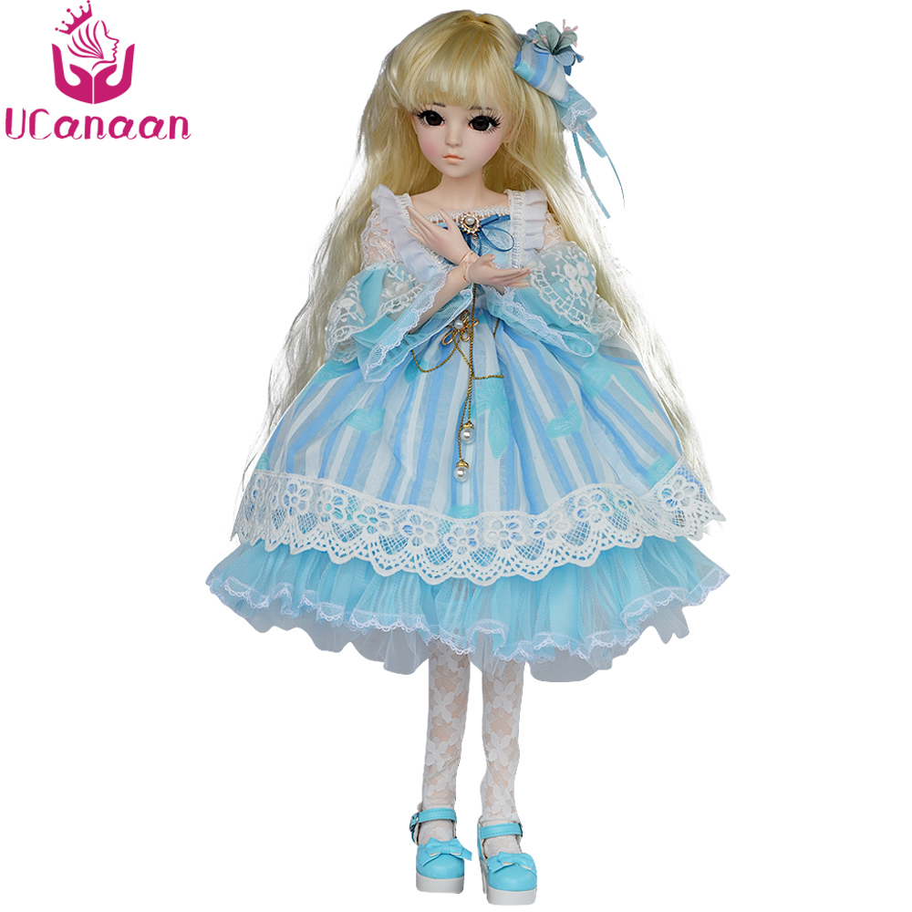 UCanaan 24'' Girl Toys 1/3 BJD Doll 18 Ball Jointed Dolls for Children With All Outfits Dress Shoes Wig Makeup Toys Gift 60cm bjd doll 24 1 3 sd dolls with beauty dress shoes wig makeup full outfits 18 ball jointed dolls for girls toys gift